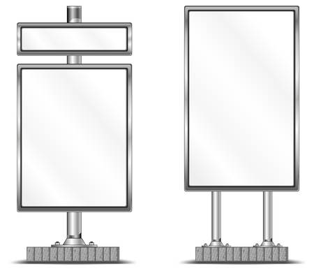 illustration for advertising: View of blank highway vertical billboard for advertising, construction, illustration