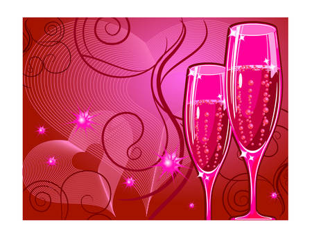 Vector holiday illustration with champagne glass on red background, celebration image