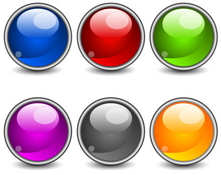 submit: Aqua stiled glossy buttons, vector round web icons on white
