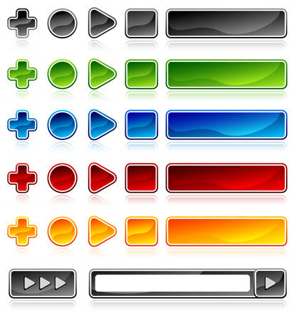 Vector colored buttons for web and computing on white, illustration Vector