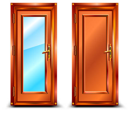 Door closed from wood and glass, classic design with lock, illustration Vector