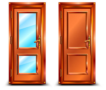 glass door: Door closed from wood and glass, classic design with lock, illustration Illustration