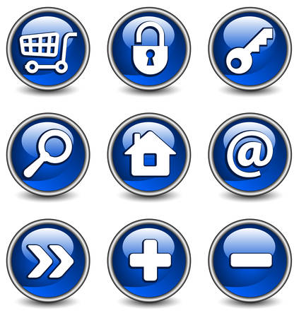 Set of vector buttons with web icons in blue, illustration. Round series Stock Vector - 4650220