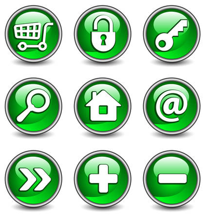 Set of vector buttons with web icons in green, illustration. Round series Stock Vector - 4650219