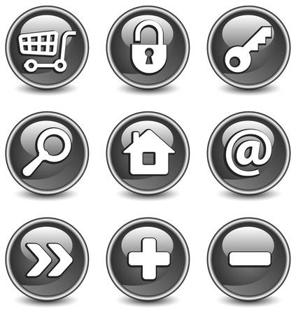 Set of vector buttons with web icons in black, illustration. Round series Vector