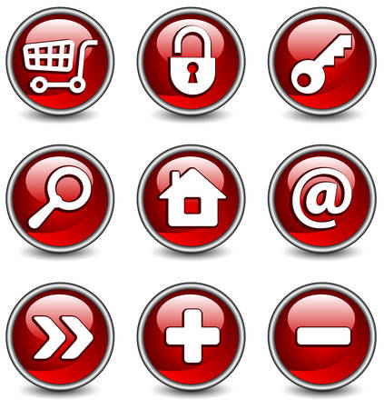 Set of vector buttons with web icons in red, illustration. Round series Vector