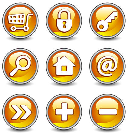 Set of vector buttons with web icons in yellow, illustration. Round series Stock Vector - 4650222