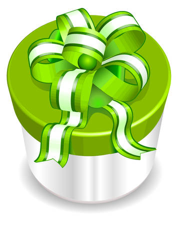 White box surprise with green ribbon, wrapper for gift, vector illustration Vector