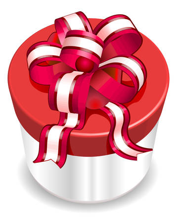 gladness: White box surprise with red ribbon, wrapper for gift, vector illustration Illustration