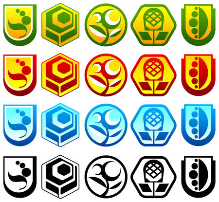 Collection of nature abstract icons, color vector illustration Stock Vector - 4650236