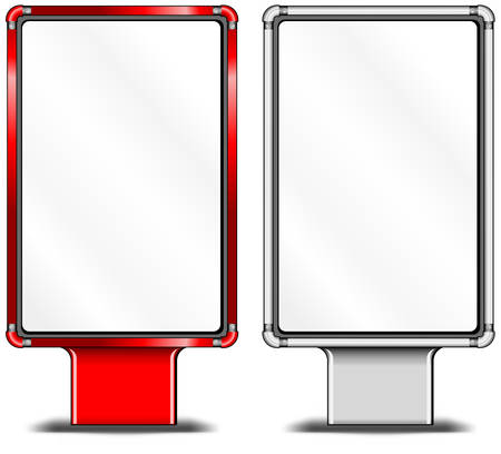 illustration for advertising: View of blank vertical billboards for bus stop advertising, construction, illustration