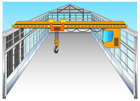 hall: Isolated big warehouse with elevating crane, vector illustration