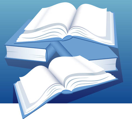 verses: Open books are combined by hill on table, library of knowledge, illustration