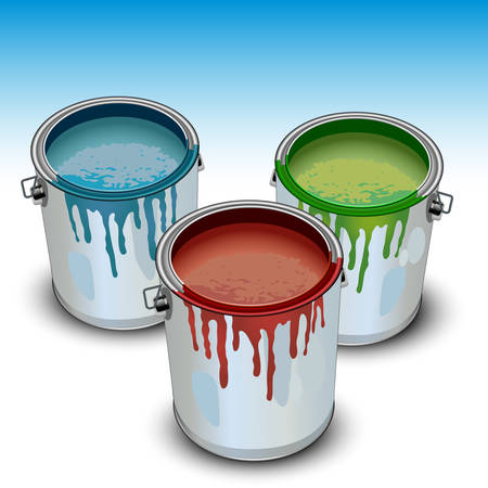 house painter: Tins with building paint opened color, illustration, vector