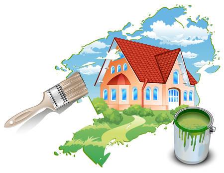 tile roof: Grande residenza privata tratte da pitture con natura, illustrazione