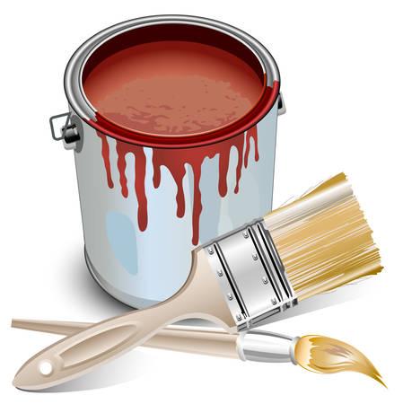 버킷: Tins with building paint opened and brushes, vector illustration 일러스트