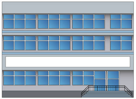 Office building with greater windows and steps, vector illustration