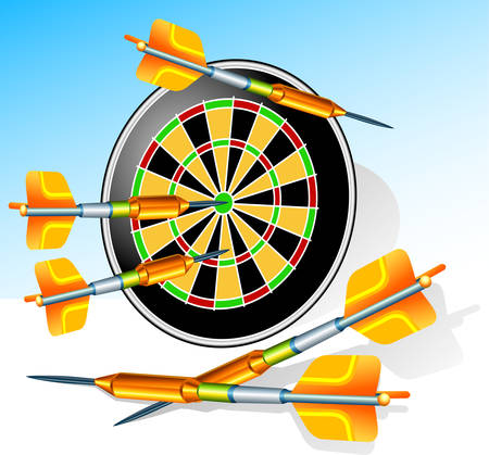 Game darts with round target and greater arrows, illustration Stock Vector - 4735552