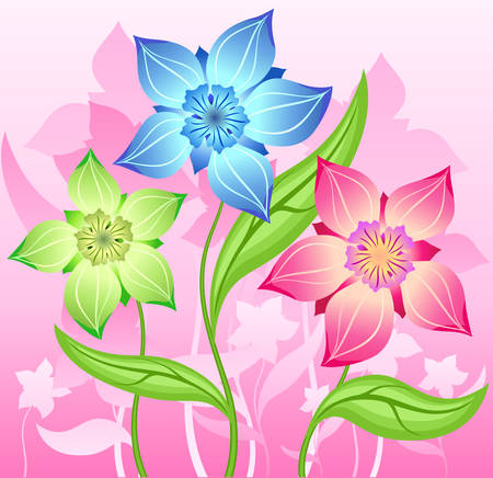 Illustration containing bouquet of flower decoration, background for card Vector