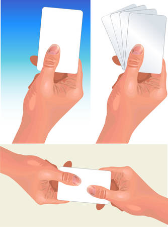 Different variations of hand with card, demonstration of focuses, illustration