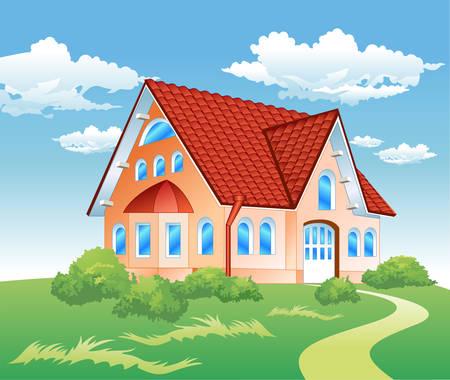 tile roof: Grande residenza privata sulla collina con bellissima natura, illustrazione Vettoriali