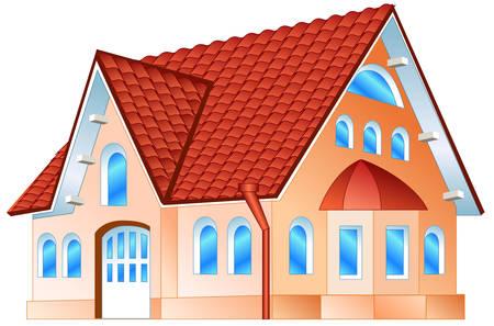 Pays résidence privée, maison avec plus de fenêtres et de tuile rouge