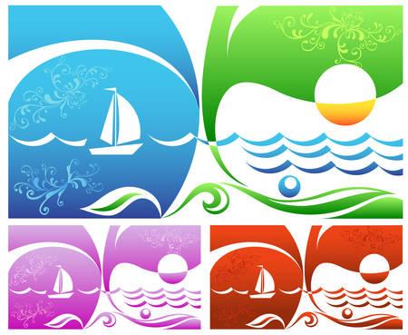 sailing vessel: Isla desierta, vela barco mar, sol, cielo, playa, ilustraci�n vectorial Vectores