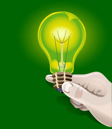 shone: Electric bulb is shone in human hand, saving up technologies, illustration