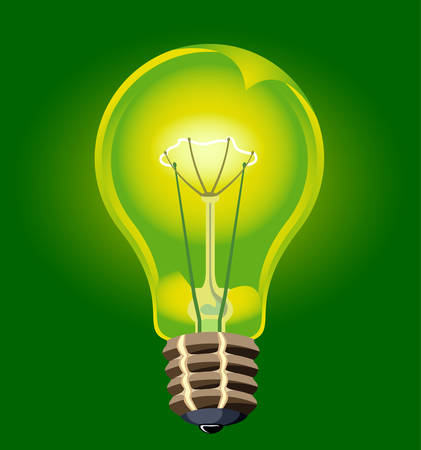 alive: Bulb electric alive, saving up technologies, illustration
