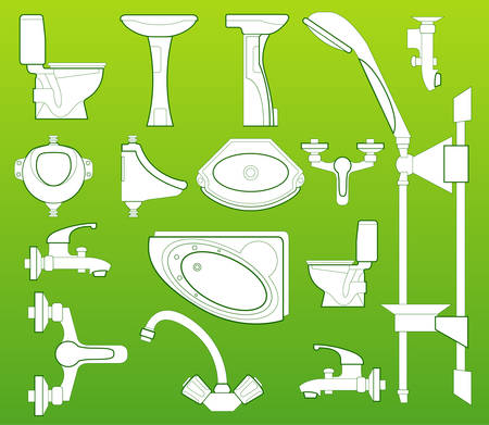 washstand: Sanitary technician, washstand, bowl, bathing, toilet bowl, shower, crane  Illustration