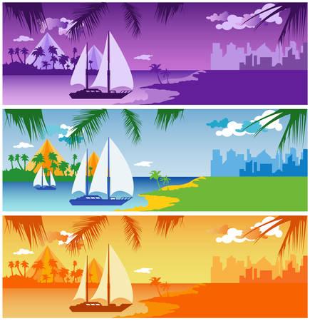 sailing vessel: Buque de vela en el puerto de la isla, cerca de la ciudad, ilustraci�n vectorial Vectores