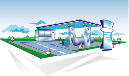 Model of filling station for cars, templates, vector illustration Illustration
