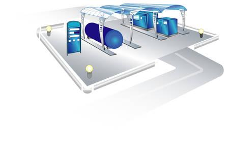 remplissage: Paysage avec station de remplissage pour les voitures, les mod�les, illustration vectorielle Illustration