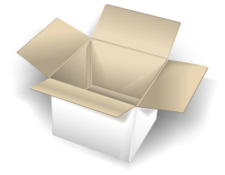 Empty cardboard box isolated over white background, vector illustration Vector