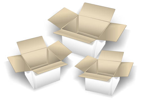 Three empty cardboard boxes isolated over white background, vector illustration Vector