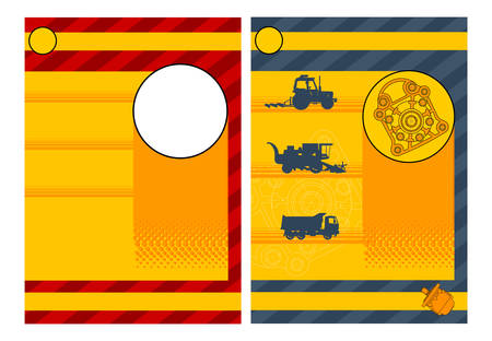 Collection of agricultural machine tractor, combo, lorry, vector illustration Vector