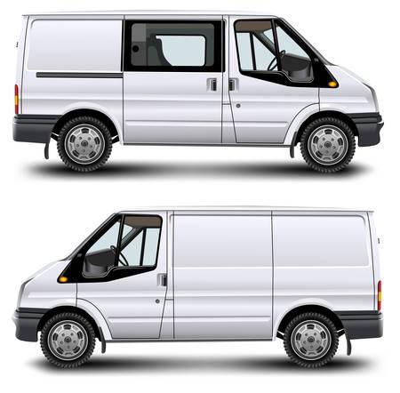 Minibus for passenger and cargo transportation on white background, vector illustration Vector