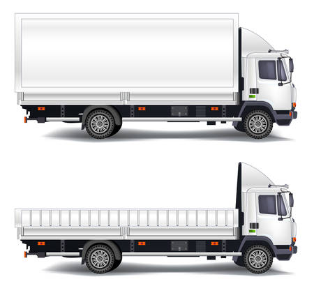 compartments: Vector trailer, transports machines, isolated object on white background, illustration