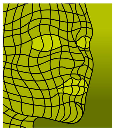 Face isolated over abstract green background, vector illustration Vector
