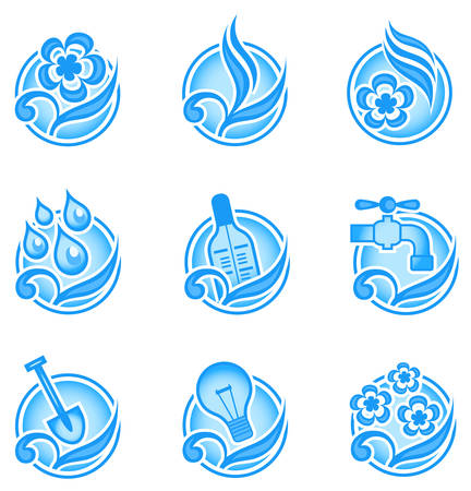 Set of environmental graphics, collection of nature icons, vector illustration in blue Vector