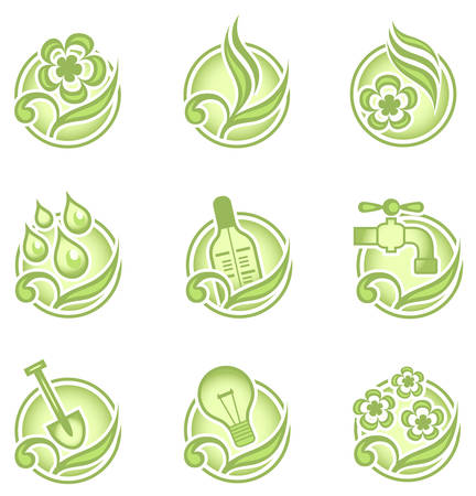 Set of environmental graphics, collection of nature icons, vector illustration in green Stock Vector - 4876797