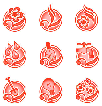 Set of environmental graphics, collection of nature icons, vector illustration in red Vector