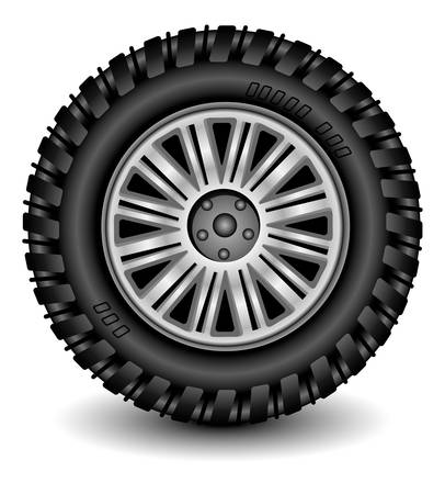 road surface: Car wheel in details on white background with shadow, vector, illustration