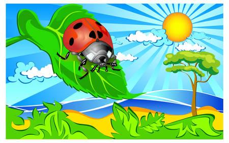 Landscape with ladybug sitting on a green leaf, vector illustration Vector