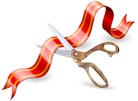 taglio del nastro: Vector arte di forbici taglio del nastro di fronte a simboli di valuta