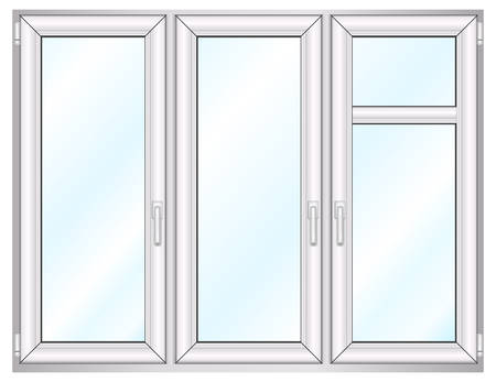 Plastic window template model with path included, vector illustration Vector