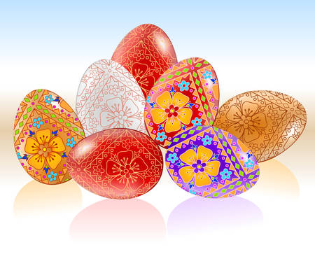 Composition from easter multi-coloured eggs painted by patterns, illustration Vector