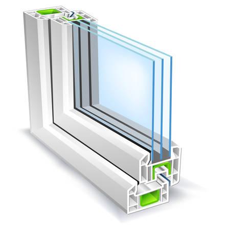 open windows: Perfil de la ventana con la superficie de �rboles de cristal, ilustraci�n vectorial