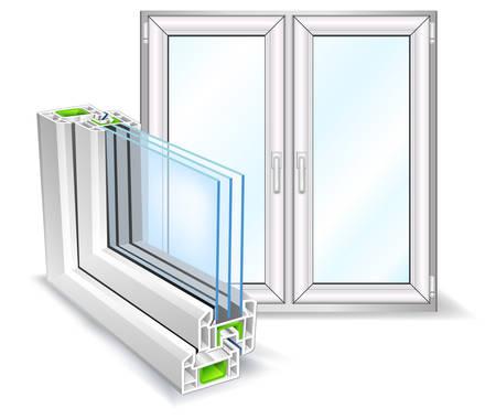 ventanas abiertas: Perfil de la ventana con la superficie de �rboles de cristal, ilustraci�n vectorial
