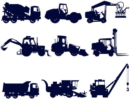loaders: Collection of construction and agriculture machines, vector silhouettes, illustration
